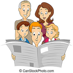 Family Newspaper - Family reading Newspaper with Clipping...