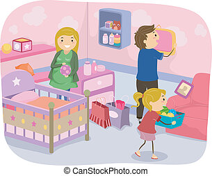Family Nursery Decoration - Illustration of a Family...