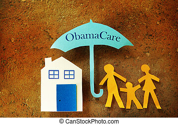 Family Obama Care umbrella - Paper cutout family with house...