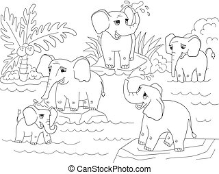 Family of African elephants coloring book for children cartoon vector illustration