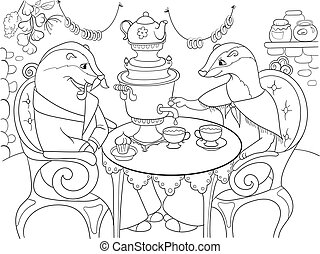 Family of badgers in their house in the kitchen coloring book for children cartoon vector illustration