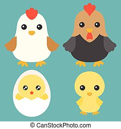 Family of Chicken, Chicken in egg, hen and rooster cartoon character, flat design