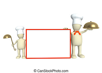 Family of cooks - parent and child. Object over white