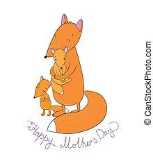 Family of cute cartoon fox. Funny animals. Happy mother s day