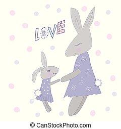 Family of cute cartoon rabbits.
