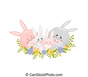 Family of cute hares. Vector illustration on a white background.