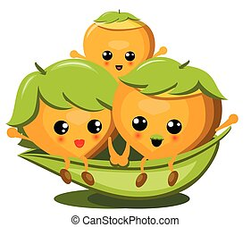 Family Of Cute Nuts On White Background Illustration, Vector.
