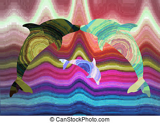 Family of dolphins, abstract