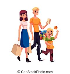 Family of father, mother and son shopping together