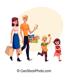 Family of father, mother, daughter and son shopping together