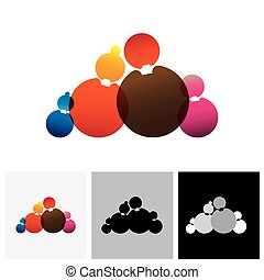 Family of father, mother, son & daughter - abstract vector logo icon
