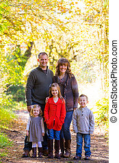Family of Five Outdoors - Nuclear family of five people...