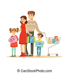 Family Of Four. Colorful Vector Illustration With Happy People In Supermarket.