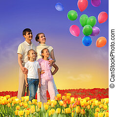 family of four in tulip field and balloons collage