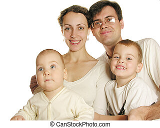 family of four isolated