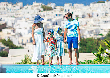 Family of four on european vacation