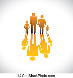 Family of four people symbols- father, mother, son & daughter icons in orange color with reflection graphic illustration