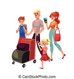 Family of four pushing luggage cart at airport, travelling together