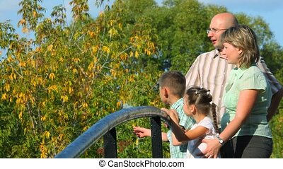 family of four standing on bridge in park and looks away, profile