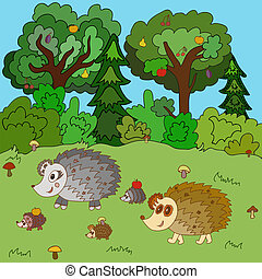 Family of hedgehogs walk on a forest glade. Vector...
