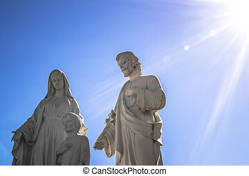 Family of Jesus - Sculpture sunlit, representing the family ...