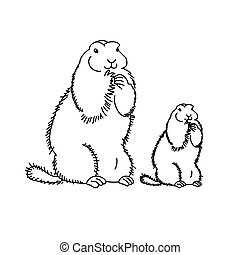 Family of marmots standing on their hind legs. groundhog day, coloring page for children about the world of animals, vector illustration