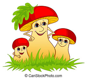 Family of mushrooms on a grass. Isolated on white. Cartoon vector illustration.
