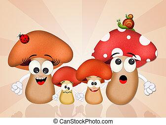 illustration of mushrooms family