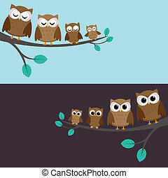 Family of owls sitting on a branch. Two variations.