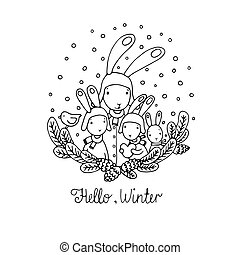 Family of rabbits, tree branches and bird. Hand drawn vector...