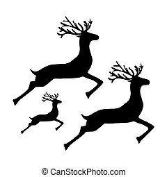 Family of reindeer jumping and running on a white background...
