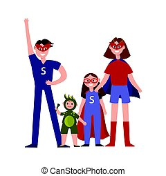 Family of superheroes cartoon characters, parents with their kids in costumes of superheroes having fun vector Illustration