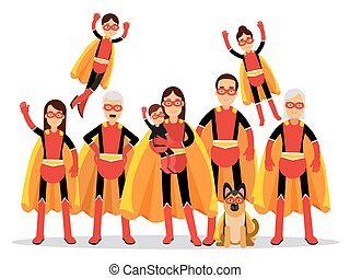 Family of superheroes, grandmother, grandfather, mother, father, children and dog in orange capes vector Illustration