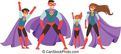 Family of superheroes set. Smiling parents and their children dressed in superheroes costumes colorful vector illustrations