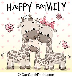 Family of Three Giraffess on a dots background
