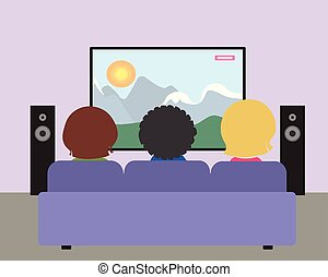 Family of three people sitting on the seat and watching television natural film in a purple living room with speakers