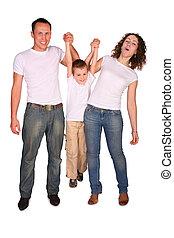 Family of three plays