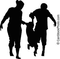 family of three silhouette