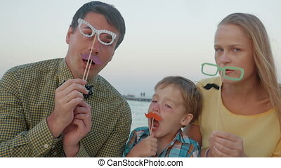 Family of three with hipster glasses and moustache - Slow...