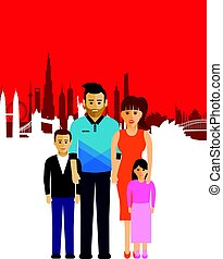 family on a cityscape background