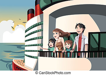 Family on a cruise trip - A vector illustration of a family...