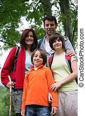 family on a mountain hike