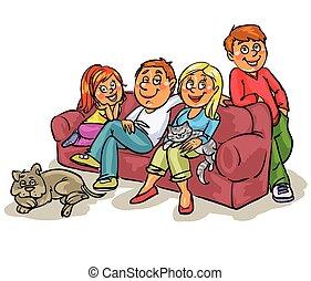 Family on a sofa - Family memebers all togehher on a sofa