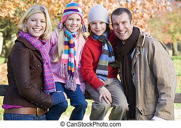 Family on autumn walk