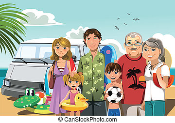 Family on beach vacation - A vector illustration of a multi ...