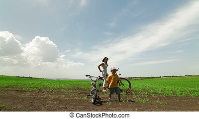 Family On Bikes Outdoors