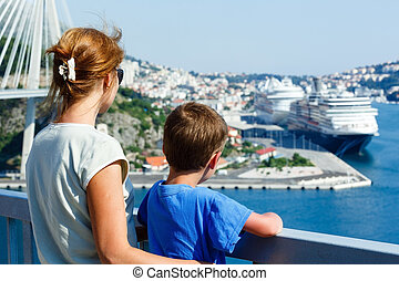 Family on bridge looking at port (Dubrovnik , Croatia)