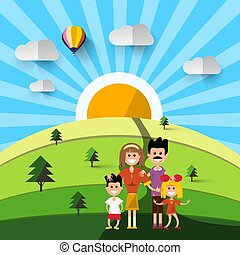 Family on Field. Natural Vector Landscape.