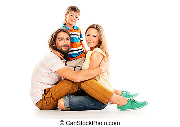 family on floor - Portrait of a happy family. Father, mother...