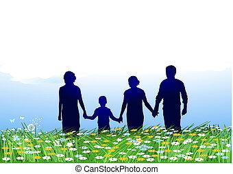 family on flower fields
